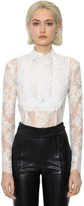 Ermanno Scervino TUXEDO SHEER LACE BLOUSE