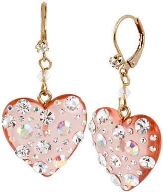 Betsey Johnson Lucite Heart Drop Earring