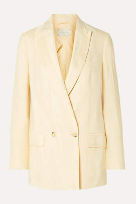 ARJÉ - Alek Double-breasted Striped Linen-blend Jacquard Blazer - Ecru