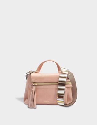Hogan Horizonal Mini Tote Bag in Salmon Pink Grained Leather
