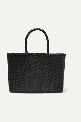 Dragon Optical Diffusion - Basket Big Woven Leather Tote - Black