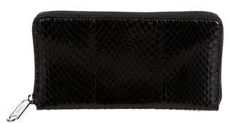 Jimmy Choo Jimmy Choo Snakeskin-Trimmed Continental Wallet