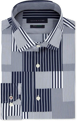 Tommy Hilfiger Men Slim-Fit Th Flex Non-Iron Supima Stretch Patchwork Dress Shirt