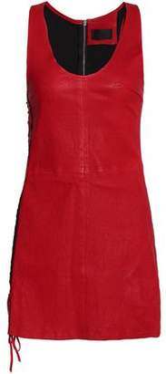 RtA Lace-Detailed Leather Mini Dress