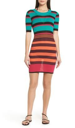 Diane von Furstenberg Stripe Ribbed Cover-Up Sweater Dress