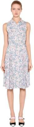 Prada Liberty Printed Sablè Midi Shirt Dress