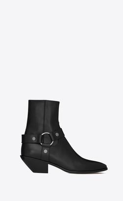 Saint Laurent Heel Booties West Harness Booties In Leather Black 4