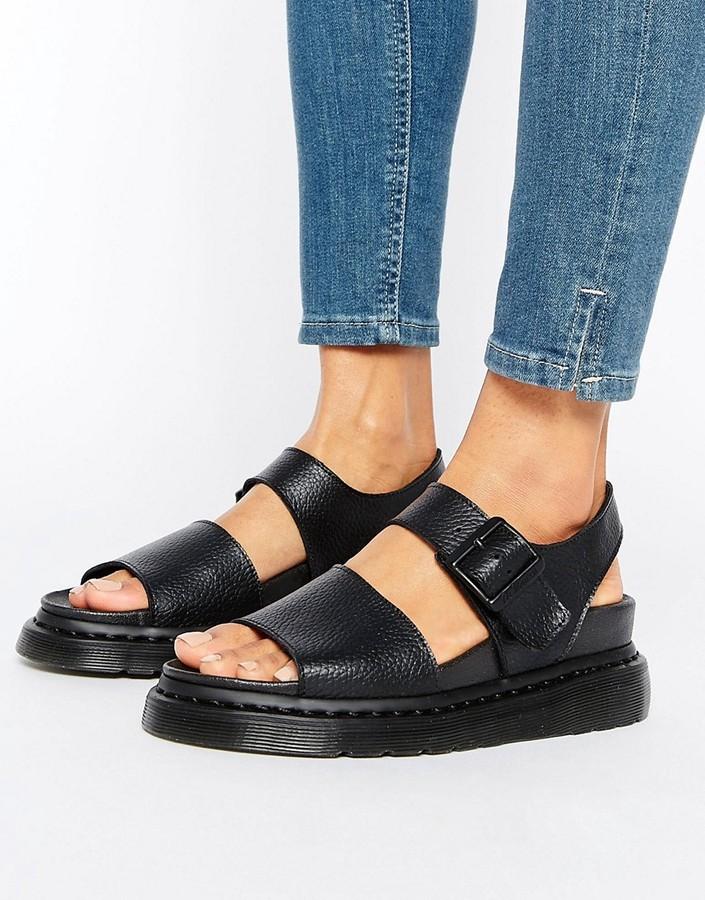 Dr. MartensDr Martens Romi Black Leather Strap Flat Sandals