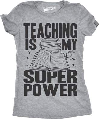 Crazy Dog T-shirts Crazy Dog Tshirts Womens Teaching Is My Superpower Funny Teacher Superhero Nerd T shirt -M