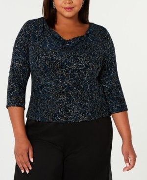 Alex Evenings Plus Size Printed Cowl-Neck Top