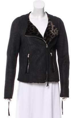 Rebecca Taylor Suede Shearling-Lined Jacket