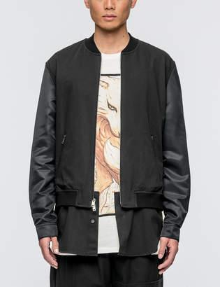 3.1 Phillip Lim Classic Bomber Shirt Jacket with Nylon Sleeves