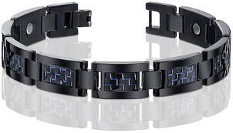 JCPenney FINE JEWELRY Mens Black Titanium with Blue Carbon Fiber Inlay Bracelet