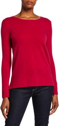 Neiman Marcus Modern Crewneck Long-Sleeve Cashmere Sweater