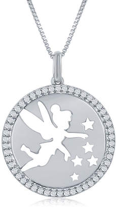 ENCHANTED FINE JEWELRY BY DISNEY Enchanted Disney Fine Jewelry 1/5 C.T. T.W. Diamond Tinker Bell Disc Pendant Necklace In Sterling Silver