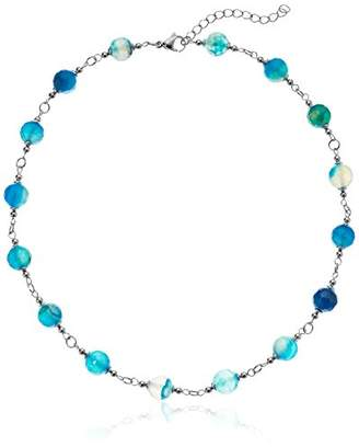 ELYA Jewelry Womens Stainless Steel Necklace With Natural Agate Stones Strand Necklace