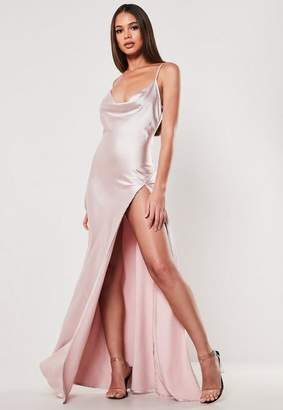 Missguided Pink Satin Cami Cowl Extreme Split Maxi Dress