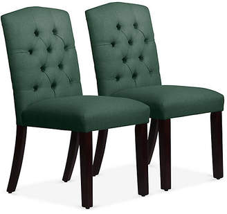 One Kings Lane Set of 2 Lea Tufted Side Chairs - Forest Linen
