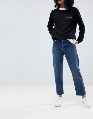 Asos DESIGN Florence authentic straight leg high waisted jeans in dark stone wash with raw hem detail