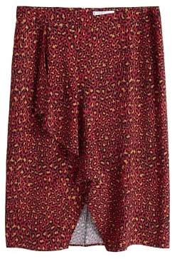 Violeta BY MANGO Leopard midi skirt