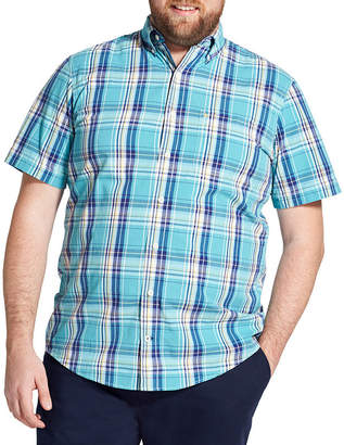 Izod SS Saltwater Plaid Woven Short Sleeve Button-Front Shirt - Big and Tall