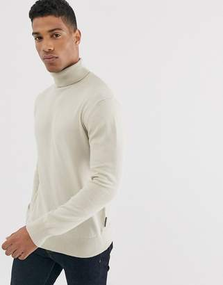 French Connection Contrast Color Block 100% Cotton Roll Neck Sweater