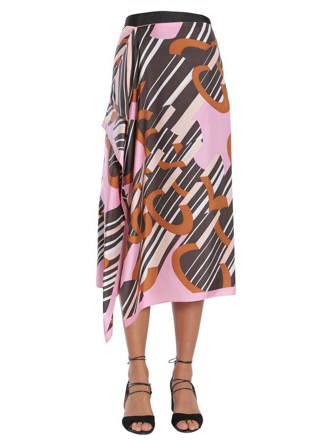 CarvenMidi Foulard Silk Skirt