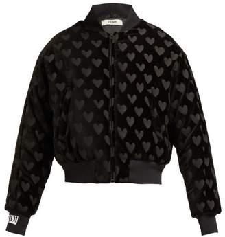 Fendi Heart Motif Velvet Bomber Jacket - Womens - Black