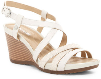 GEOX Rorie Snake-Embossed Wedge Sandal $130 thestylecure.com