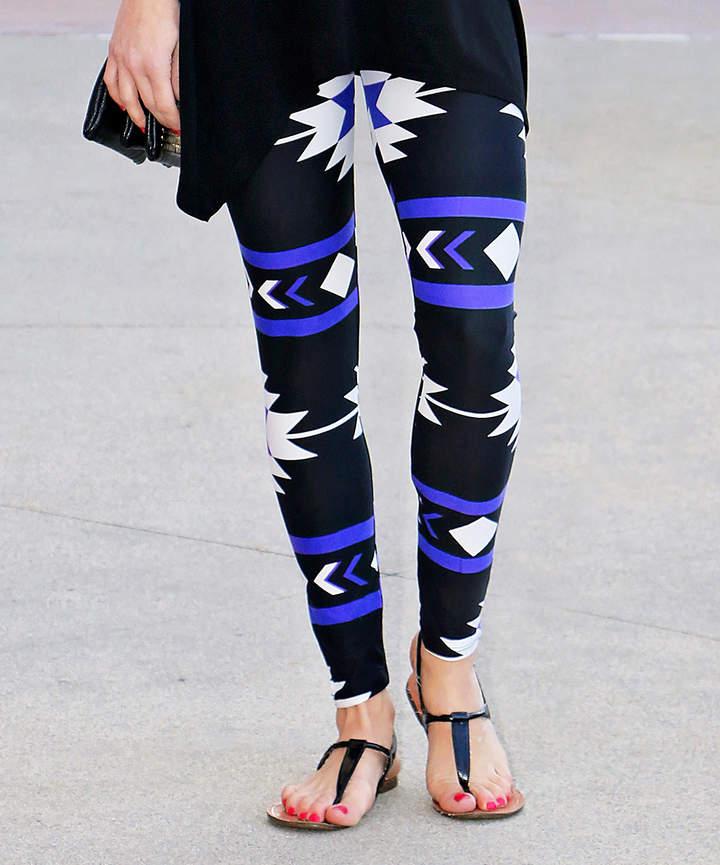 Royal Blue & Black Geometric Leggings - Women