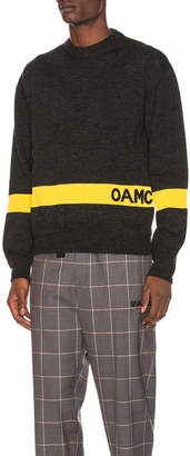 Oamc GI Sweater in Dark Heather Grey in Dark Heather Grey & Yellow | FWRD