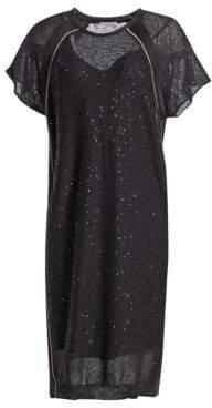 Brunello Cucinelli Linen-Blend Sequined Tee Dress