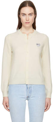 Comme des Garcons Ivory and Black Heart Patch Cardigan