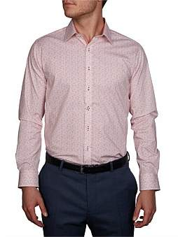 Geoffrey Beene Blot Matrix Print Stretch Body Fit Shirt