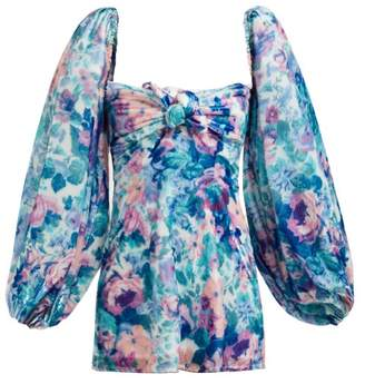 ATTICO The Floral Balloon Sleeved Velvet Mini Dress - Womens - Blue Multi