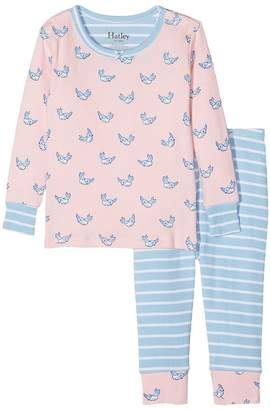 Hatley Fluttering Birds Long Sleeve Mini Pajama Set Girl's Pajama Sets