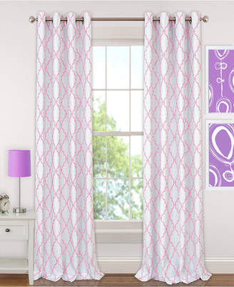 "Elrene Kids' Candice 52"" x 95"" Geo-Print Blackout Grommet Curtain Panel"