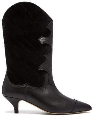 Ganni Adel Quilted Velvet Western Boot - Womens - Black