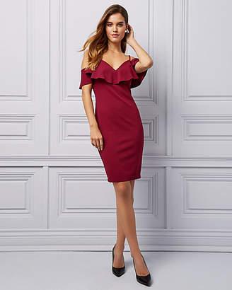 Le Château Scuba Knit Cold Shoulder Cocktail Dress