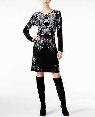 INC International Concepts Intarsia Sweater Dress, Only at Macy's $109.50 thestylecure.com