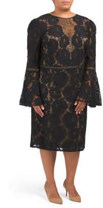 Plus Bell Sleeve Fitted Lace Sheath Dress