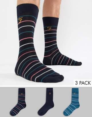Farah Harlow 3 Pack Striped Socks