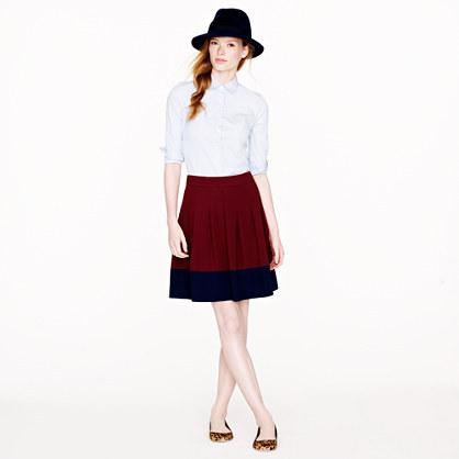 J.Crew Pleated skirt in colorblock crepe