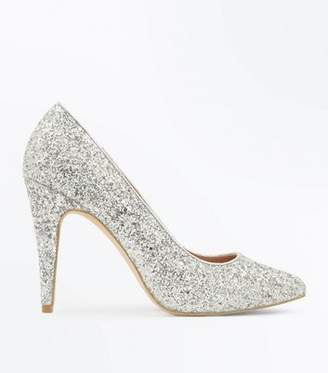 New Look Silver Glitter Pointed Court Shoes