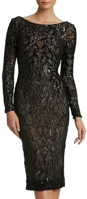 Dress the Population Catalina Long-Sleeve V-Back Vine Sequin Cocktail Dress