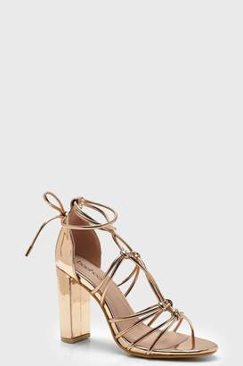 boohoo Block Heel Multi Strap Sandals