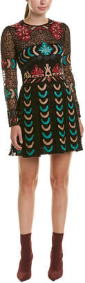 Valentino Leather-Trim Silk-Blend A-Line Dress