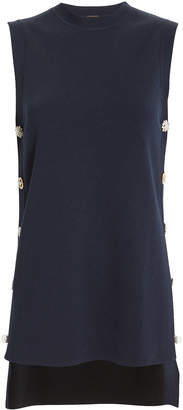 ADAM by Adam Lippes Crystal-Embellished Navy Tunic