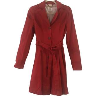 Anthropologie Red Cotton Trench Coat for Women