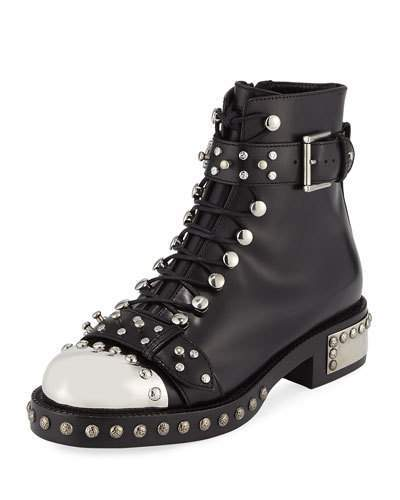 Alexander McQueenAlexander McQueen Studded Lace-Up Cap-Toe Boot, Black